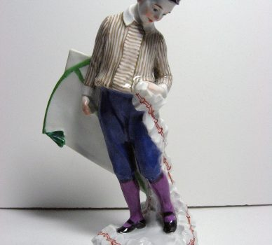 Young Man with a Kite – Art Nouveau Meissen Porcelain
