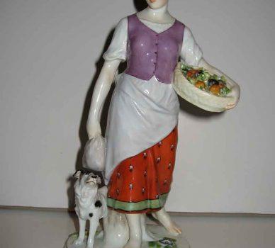 Girl Gathering Vegetables – Meissen Porcelain Art Nouveau Figurine
